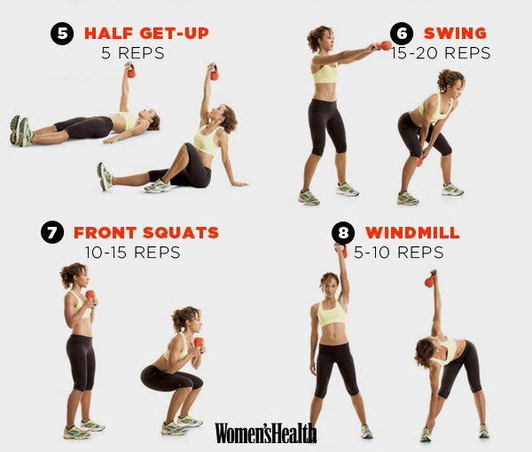 photograph relating to Printable Kettlebell Workout named 8 Kettlebell exercises in the direction of tone muscle tissue and melt away body weight